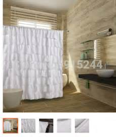 White Bathroom Window Curtains Romanticdoctrine Waterfall Ruffle Polyster Shower