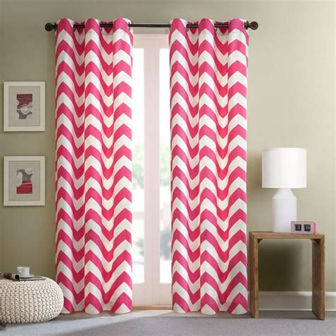 pink and white chevron curtains intelligent design virgo pink chevron window curtain panel