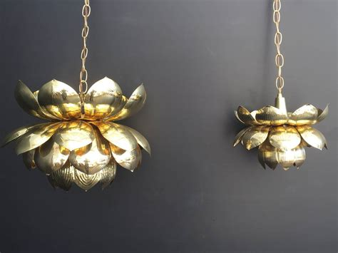 Lotus Pendant Light Large Brass Lotus Pendant Light By Feldman For Sale At 1stdibs