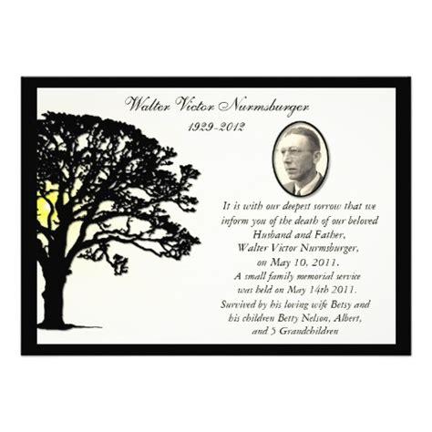 free templates for death announcements sunset tree photo death announcement card 13 cm x 18 cm