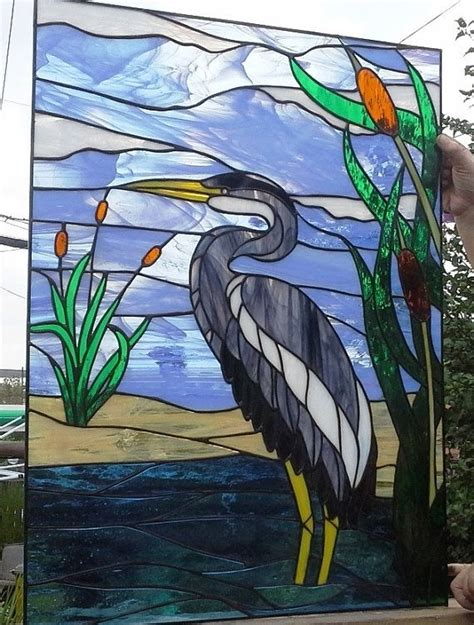 stained glass pattern blue heron hand made stained glass window quot blue heron quot w 57 by