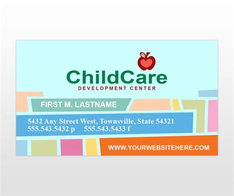 education business card templates child daycare preschool services business card
