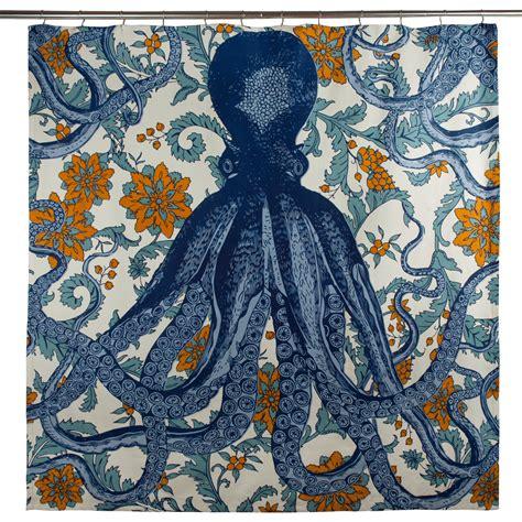 octupus shower curtain vineyard blue octopus shower curtain