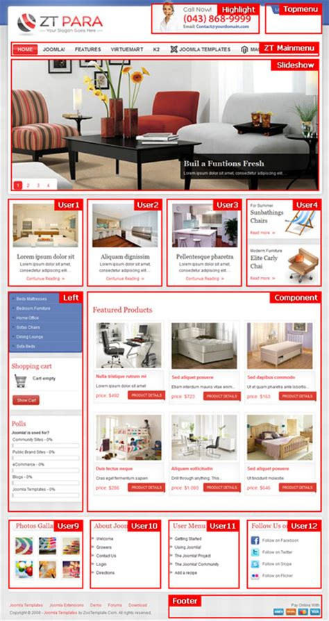 joomla store template zt para joomla shopping cart template for furniture store