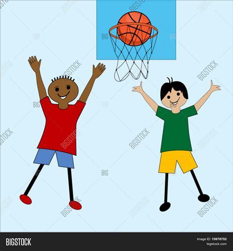 imagenes niños jugando basquetbol vector y foto ni 241 os de dibujos animados jugando bigstock