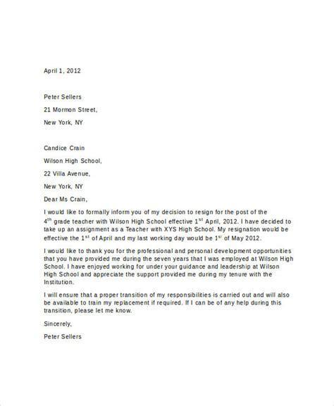 Resignation Letter Doc For Teachers 6 Resignation Letter Templates Free Word Pdf Format Free Premium Templates