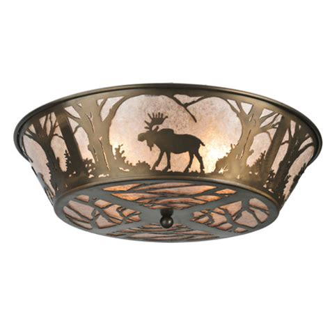 Meyda 108638 Northwoods Moose At Dawn Flush Mount Ceiling Fixture