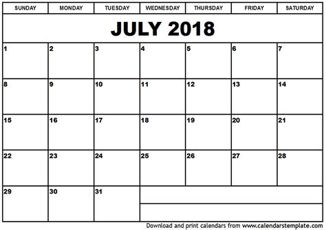 best calendar template printable july 2018 calendar template best business template