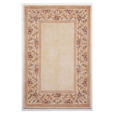 8 x 10 ft area rugs kas rugs lush floral border ivory 8 ft x 10 ft 6 in area rug rub89288x106 the home depot