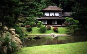 japan flowers houses pond japanese gardens