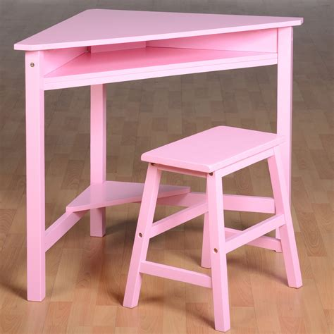 Girls Corner Desk Stool Wood Computer Workstation Kids Child Corner Desk