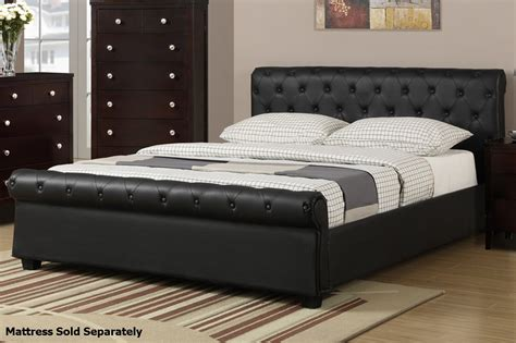 queen size bed size poundex f9246q black queen size leather bed steal a sofa furniture outlet los angeles ca