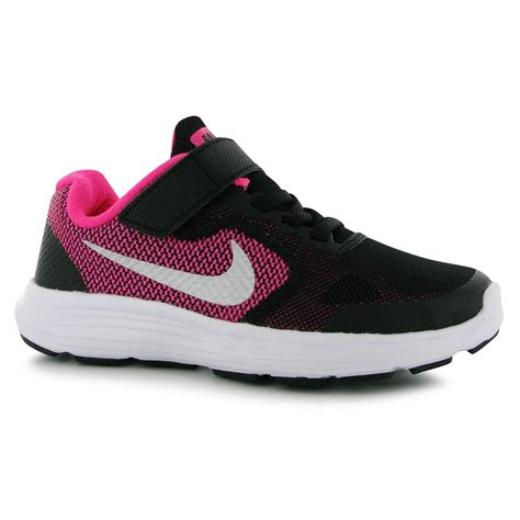 black shoes sports direct nike nike revolution 3 trainers runners