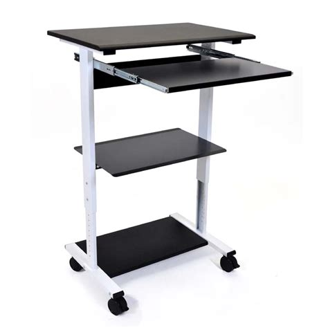 luxor 3 shelf adjustable stand up workstation black and