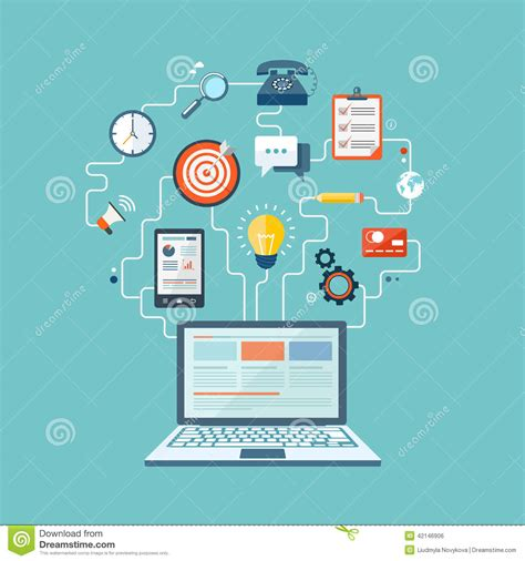 Seo Technology by Seo Technology Flat Illustration Stock Vector Image