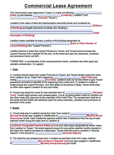 Free New Jersey Commercial Lease Agreement Pdf Template Rental Lease Agreement Nj Template