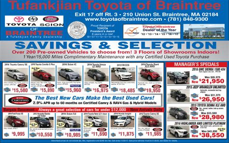newspaper car ads current newspaper car ads in braintree ma toyota of
