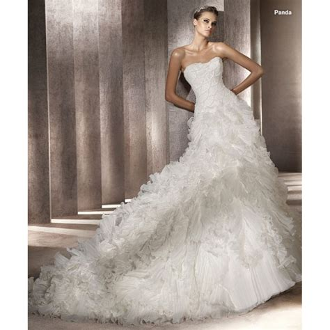 princess strapless full cascading ruffle chapel train