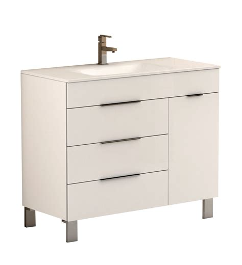 White Modern Bathroom Vanity Eviva Geminis 39 Quot White Modern Bathroom Vanity With White Integrated Porcelain Sink Decors Us