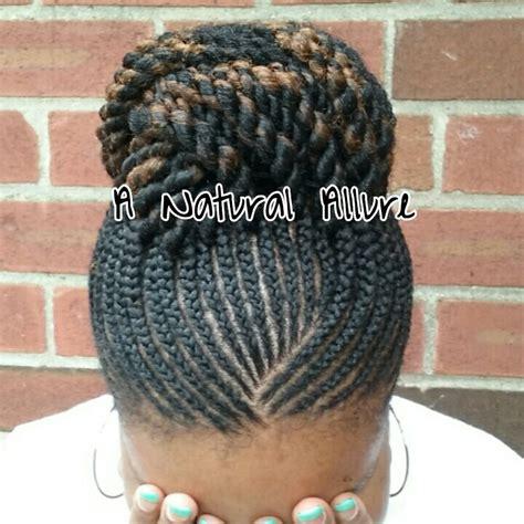 kinky twist bun styles cornrow updo natural hair with one pack of cuban twist