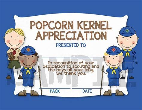 Cub Scout Advancement Card Templates by Popcorn Kernel Appreciation Certificate Idea Cub Scouts