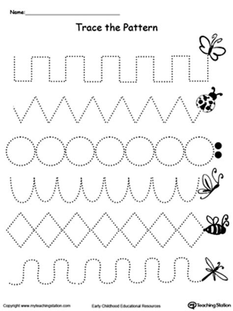 pattern writing pages trace the pattern bug trail printable worksheets motor