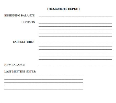 treasurer report template sle treasurer report 12 documents in pdf word