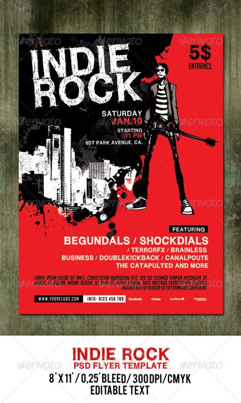 indie rock poster flyer template by gulali graphicriver