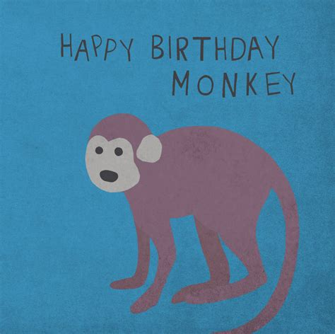 Happy Monkey Blue blue monkey happy birthday card by lil3birdy notonthehighstreet
