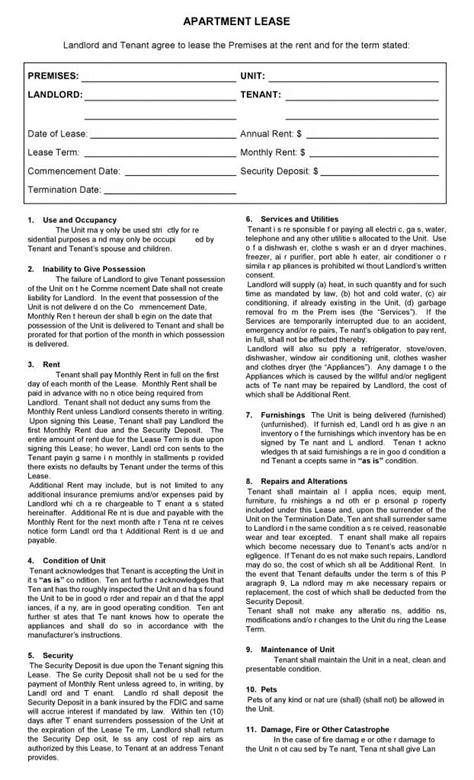 Printable Rental Lease