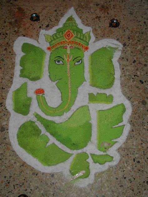 leaf pattern rangoli beautiful ganesha rangoli designs rangoli ganesha ganesh