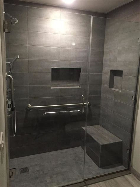terrific gray shower tile with seat