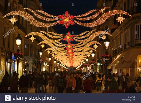 calle larios with christmas decorations malaga spain stock