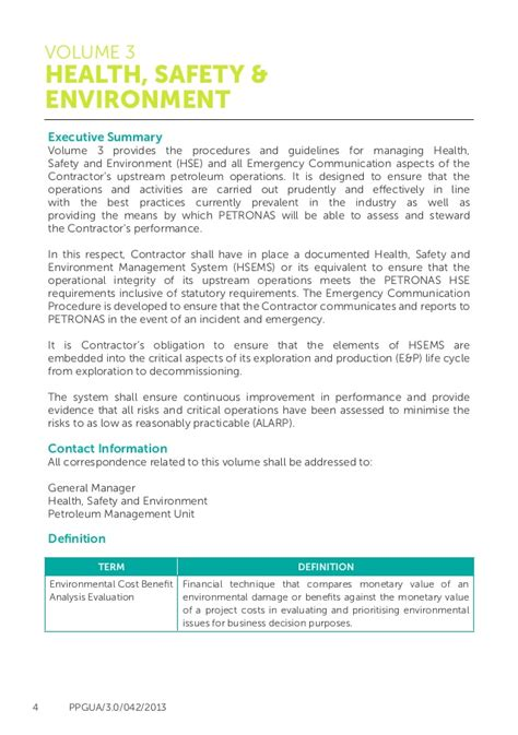 hse template petronas health safety and environment guidelines hse