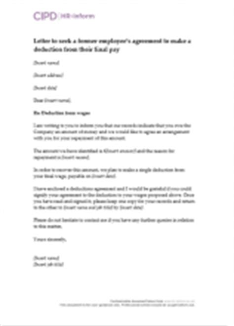 Letter Of Agreement To Deduct Salary Pay Hr Inform