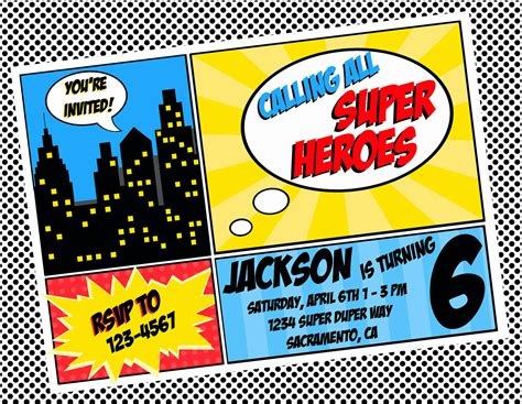 superhero invitation template superhero party