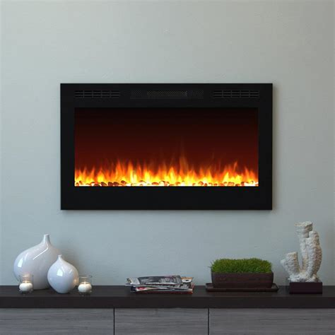 Recessed Electric Fireplace Moda Cynergy 36 In Pebble Electric Recessed Built In Fireplace In Black Mfe2035ws The