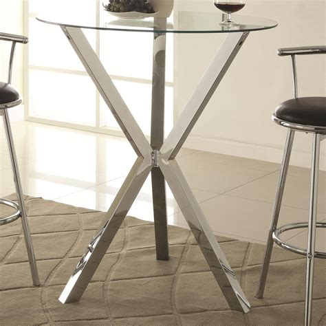 Glass Bar Table Coaster 100186 Silver Glass Bar Table A Sofa Furniture Outlet Los Angeles Ca