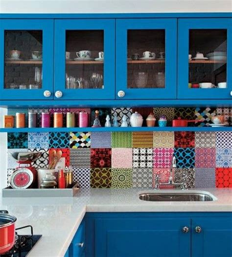 Blue Kitchens With White Cabinets by Stylish And Colorful Kitchen Backsplash Ideas Decozilla