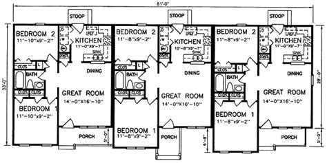 multi family house plans apartment multi family plan 45364 at familyhomeplans com
