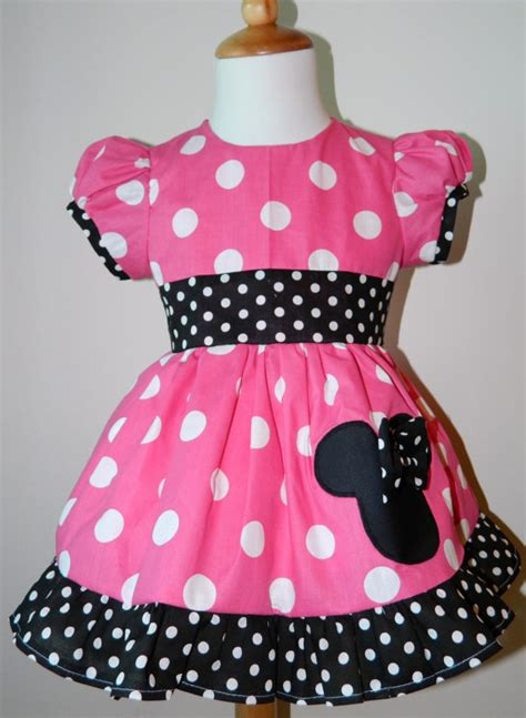 Handmade Minnie Mouse Dress - handmade minnie mouse puff sleeves dress 12m to 6y