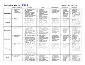 kindergarten curriculum map template curriculum map for esl tesl aids
