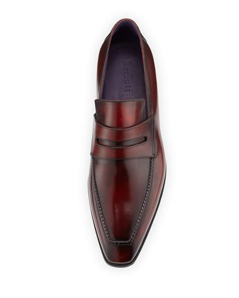 loafers leather berluti andy burnished leather loafers in for lyst