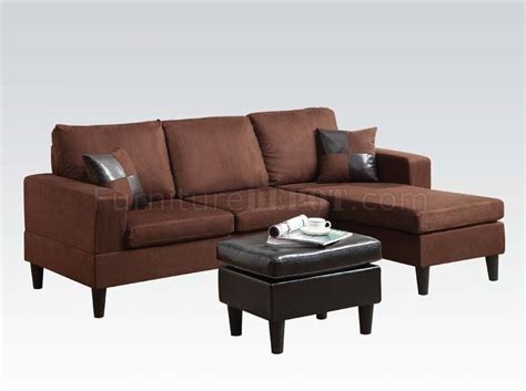 15900 robyn sectional sofa ottoman chocolate microfiber acme