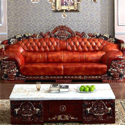antique style classic furniture genuine leather living european royal living room sofa antique genuine leather
