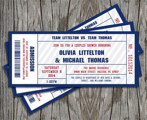 couples shower sports ticket invitation printable