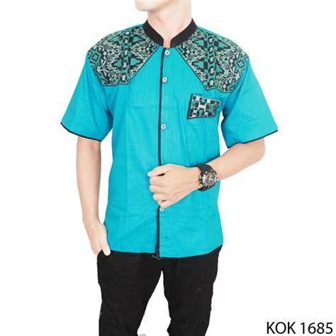 Baju Koko Modern Cowok baju koko pria modern katun biru kok 1685 gudang fashion