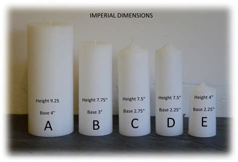 Colours and Sizes   Jennies Candles