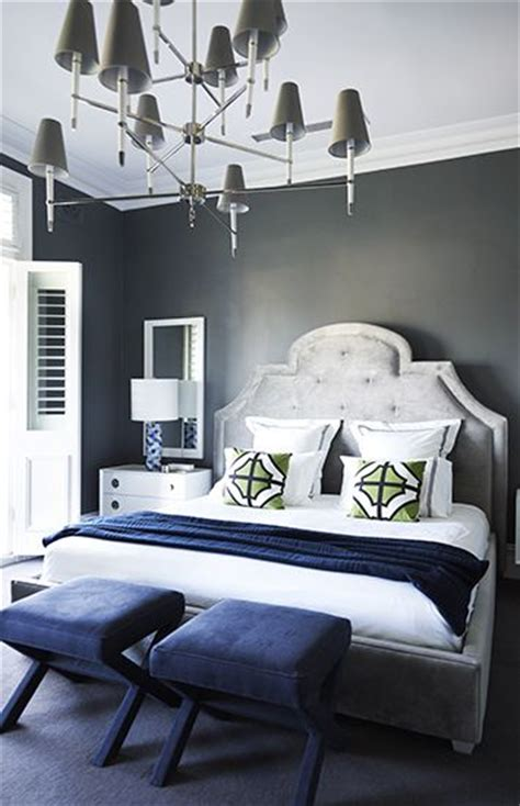 Grey Bedroom With Navy Accents Greg Natale Design Charcoal Walls Light Grey Upholstered