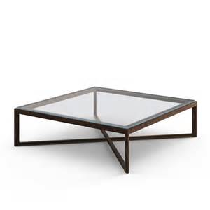 krusin square coffee table clear glass american walnut